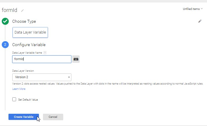 Form ID DataLayer Variable