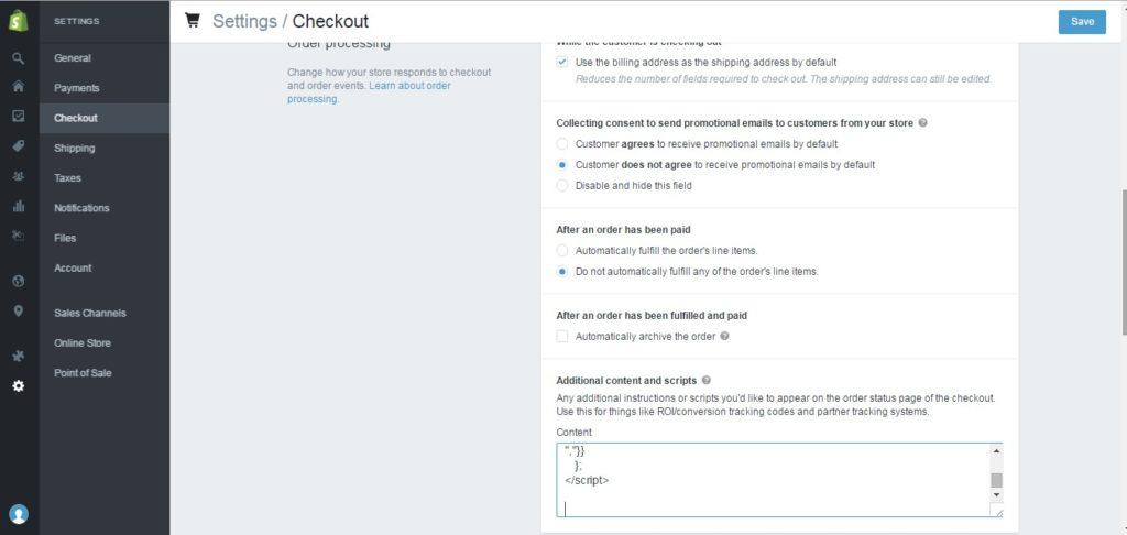 Shopify Conversion Tracking checkout