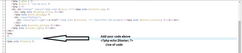 Opencart Ecommerce Code instruction – success.tpl
