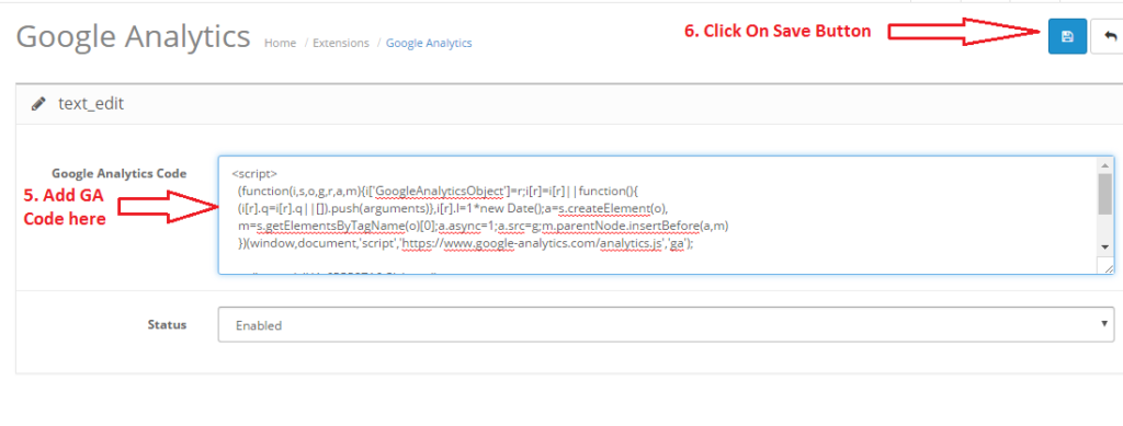 Opencart Ecommerce - Google Analytics - Add GA Code