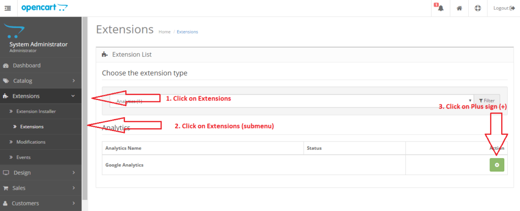 Opencart Ecommerce Google-analytics Extensions Enable